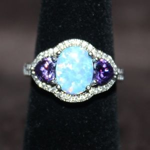 Jewelry - Oval Blue Opal Ring with 2 Heart Shaped Amethyst